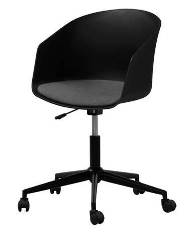Čierna kancelárska stolička na kolieskach Interstil MOON