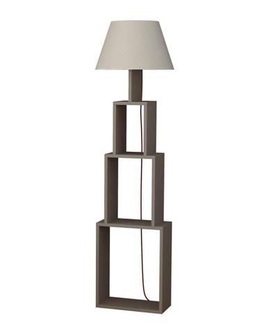 Voľne stojacia lampa so svetlosivým tienidlom Homitis Tower