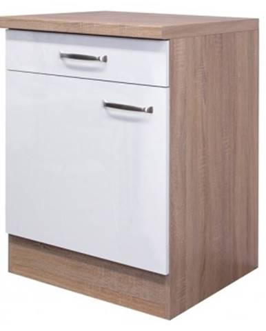 Dolná kuchynská skrinka Valero US60, dub sonoma / biely lesk, šírka 60 cm%