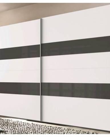 Šatníková skriňa Altona, 270 cm, biela / sivé sklo%