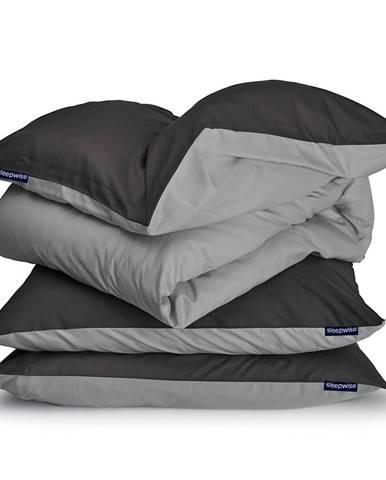 Sleepwise Soft Wonder-Edition, posteľná bielizeň, tmavosivá/svetlosivá, 155 x 200 cm, 80 x 80 cm