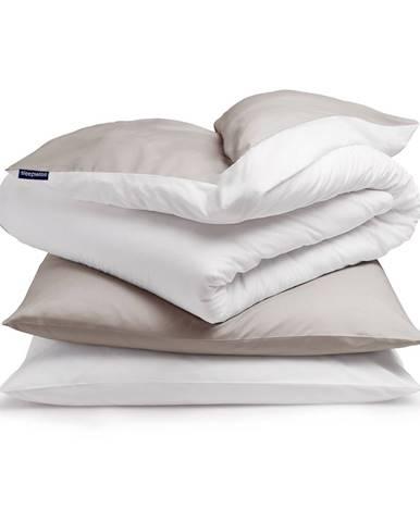 Sleepwise Soft Wonder-Edition, posteľná bielizeň, hnedosivá/biela, 200 × 200 cm, 80 x 80 cm