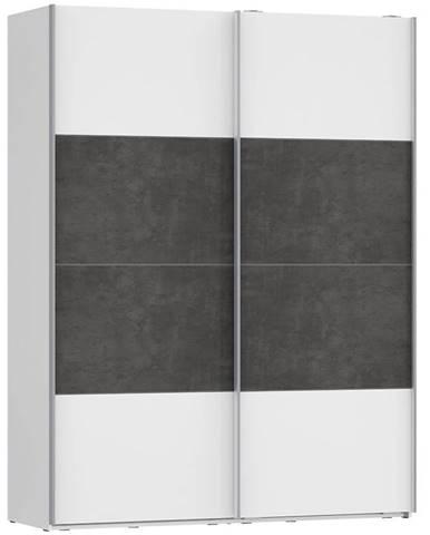 Skriňa Olivia 170 biela/beton