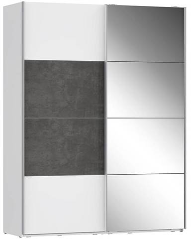 Skriňa Olivia 170 biela/beton/zrkadlo 1D