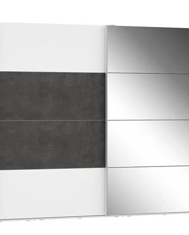 Skriňa Olivia 270 biela/beton/zrkadlo 1D