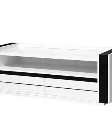 TV stolík Linn 08   biela/čierna lesklá
