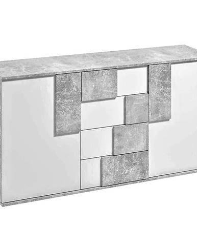 Komoda Elstra II biela/beton