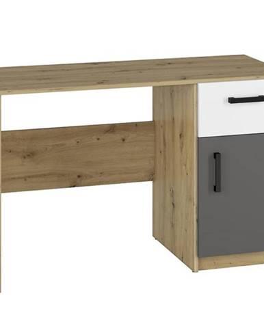 Písací stôl Fini 08 dub artisan/biela/antracit