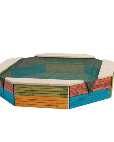 Woody Pieskovisko drevené farebné, 130 x 130 x 26 cm