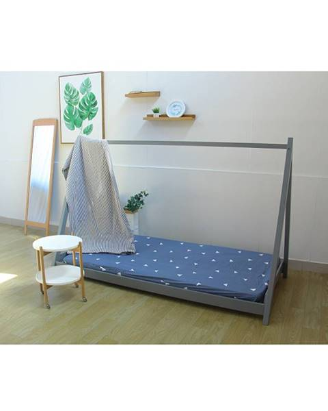 Tempo Kondela Montessori posteľ borovicové drevo sivá GROSI