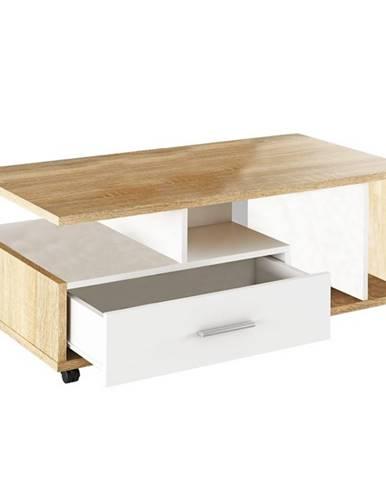 Konferenčný stolík biela/dub sonoma DECHEN