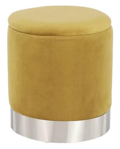 Taburet s úložným priestorom zlatá Velvet látka/strieborná chróm DARON rozbalený tovar