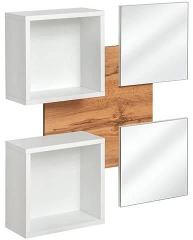 Polička+Zrkadlo Easy TYP07 wotan/biely