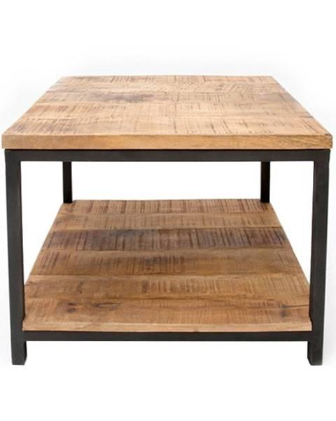 LABEL51 Čierny konferenčný stolík s doskou z mangového dreva LABEL51 Vintage, 60×60 cm