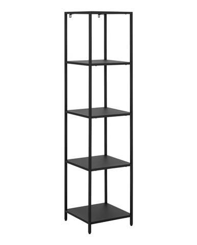 Čierna kovová knižnica so 4 policami Actona Newcastle, šírka 35 cm