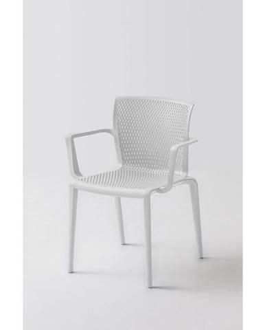 Plastová Stolička S Podrúčkami Spiker Biela - Sada 4ks