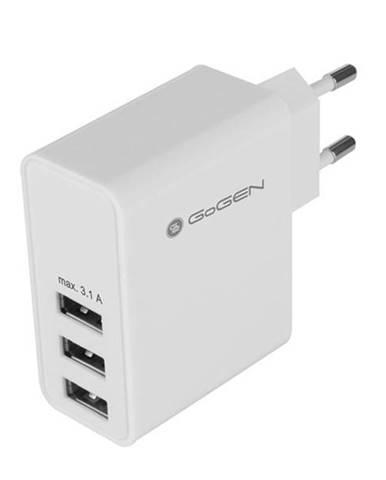 Nabíjačka do siete Gogen ACH 300, 3x USB, 3,1A biela