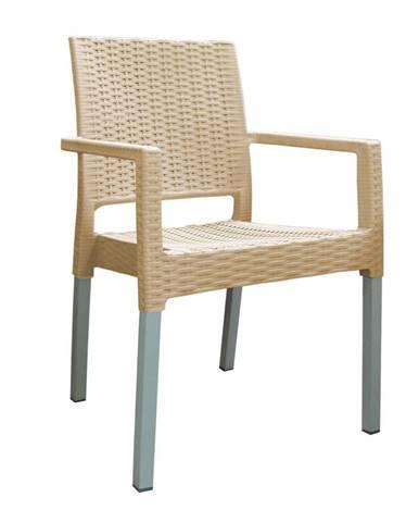 Záhradná stohovateľná stolička Ratan Lux, champagne