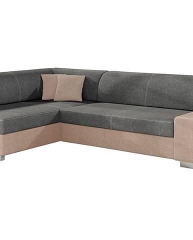 Ferol L rohová sedačka s rozkladom a úložným priestorom sivá