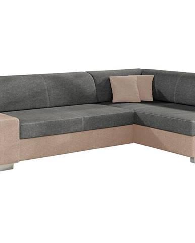 Ferol P rohová sedačka s rozkladom a úložným priestorom sivá