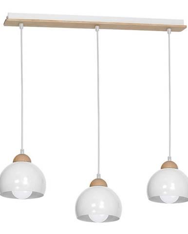 Biele závesné svietidlo s drevenými detailmi Homemania Dama Tres