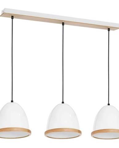 Biele závesné svietidlo s drevenými detailmi Homemania Studio Tres