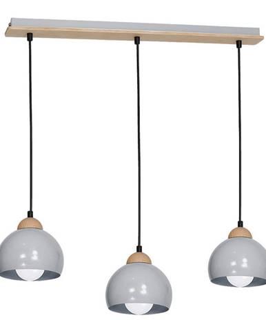 Sivé závesné svietidlo s drevenými detailmi Homemania Dama Tres