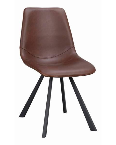 Rowico Hnedá jedálenská stolička s čiernymi nohami Rowico Alpha