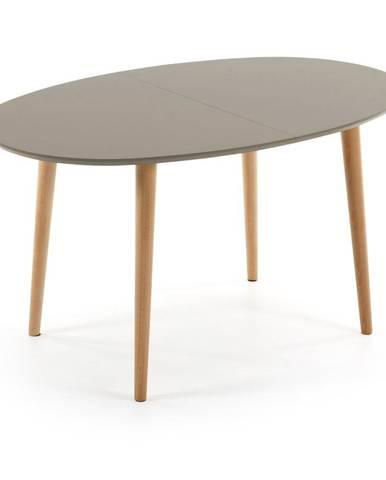 Sivý oválny rozkladací jedálenský stôl La Forma Oakland, 140 x 90 cm