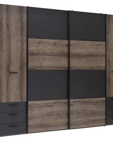Carryhome ŠATNÍKOVÁ SKRIŇA, čierna, farby dubu, 270,3/223/61,2 cm - čierna, farby dubu