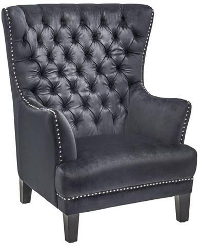 KRESLO CHESTERFIELD, kov, textil, čierna - čierna