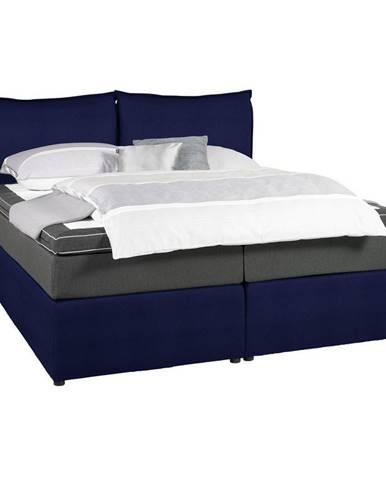 Welnova POSTEĽ BOXSPRING, 160/200 cm, textil, antracitová, modrá - antracitová, modrá