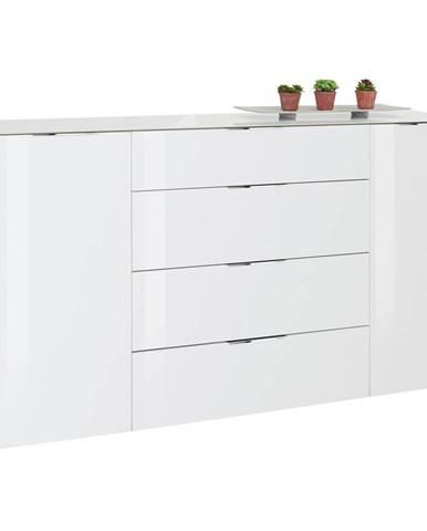Novel PRÍBORNÍK/KOMODA, biela, farby dubu, 181/100/40 cm - biela, farby dubu