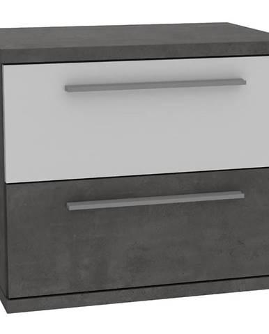 Nočný stolík Julietta JLTK022-C286 betón/biely lesk