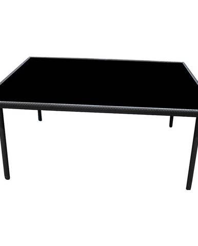 Záhradný sklenený ratanový stôl 150x90x70cm čierny