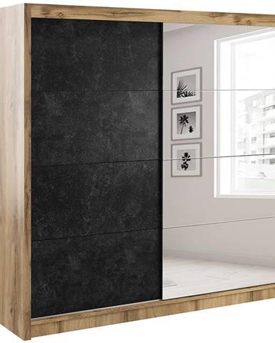 Skriňa Verona 200 betón/zrkadlo