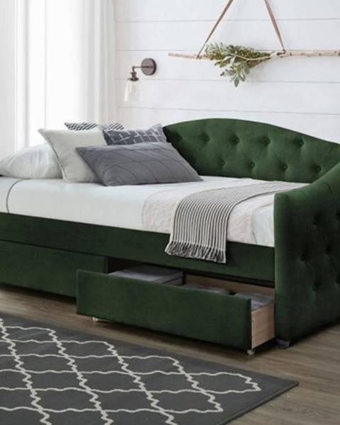 OKAY nábytok Čalúnená posteľ Belle 90x200, zelená, vrátane roštu a ÚP