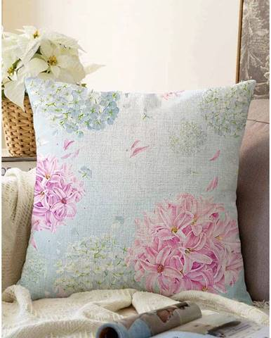 Modrá obliečka na vankúš s prímesou bavlny Minimalist Cushion Covers Peony, 55 x 55 cm