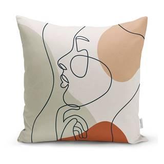 Obliečka na vankúš Minimalist Cushion Covers Pastel Drawing Face, 45 x 45 cm