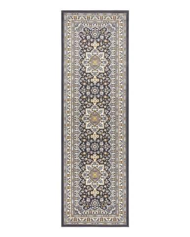 Tmavosivý koberec Nouristan Parun Tabriz, 80 x 250 cm