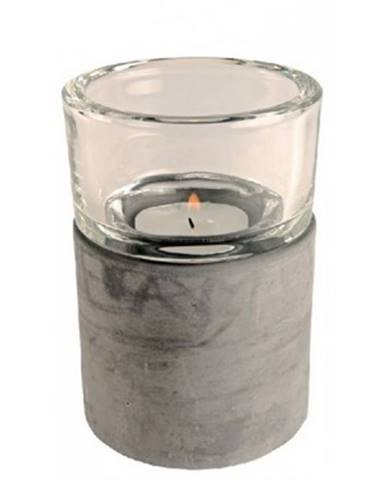 Svietnik sklo/cement, výška 12 cm%
