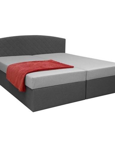Čalúnená posteľ LEXIA sivá/čierna, 170x195