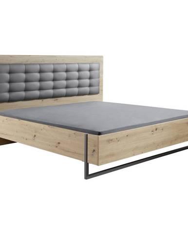 Hom`in POSTEĽ, 180/200 cm, textil, kompozitné drevo, sivá, farby dubu - sivá, farby dubu