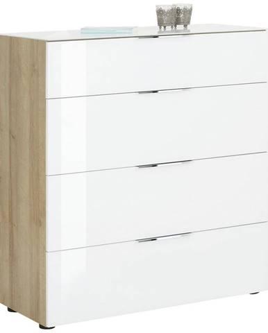 Novel KOMODA, biela, farby dubu, 91/100/40 cm - biela, farby dubu