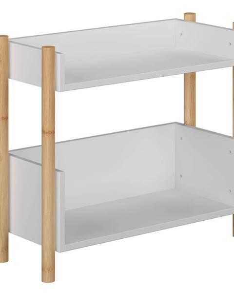 Kondela 2-poličkový regál prírodný bambus/biela BALTIKA TYP 1