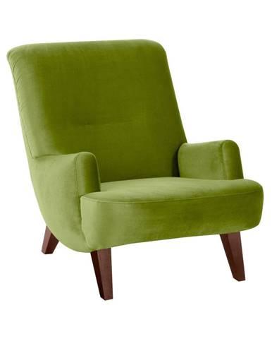 Zelené kreslo s hnedými nohami Max Winzer Brandford Suede