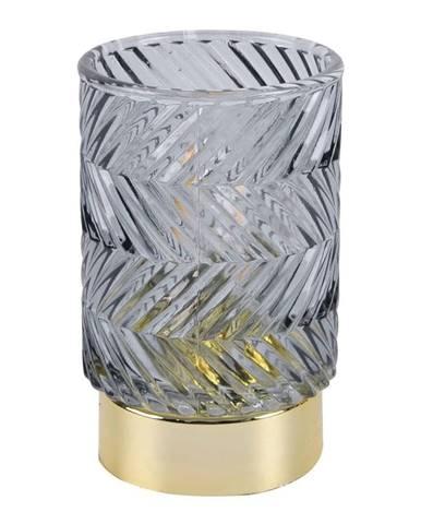 Sivá LED sklenená stolná lampa PT LIVING ZigZag