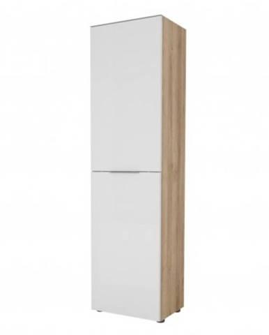 Predsieňová skriňa TERRY III dub riviéra / biele sklo, horná doska tvrdené sklo