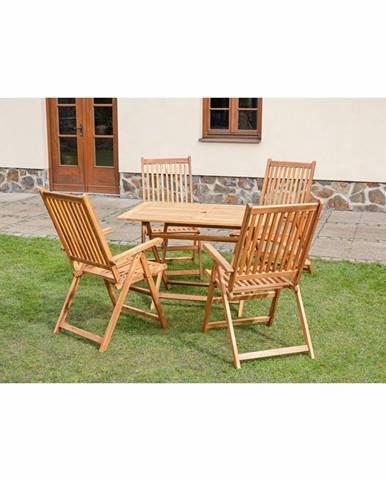 Sada záhradného nábytku s polohovacími stoličkami José, 5 ks