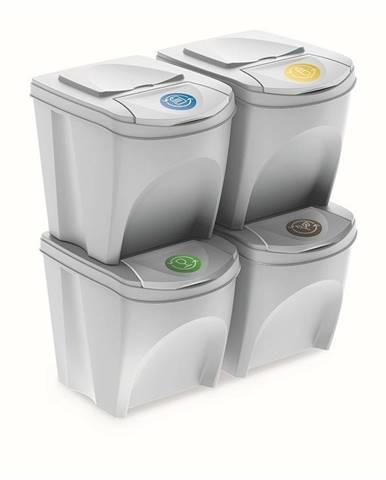 Kôš na triedený odpad Sortibox 25 l, 4 ks, biela IKWB20S4 S449
